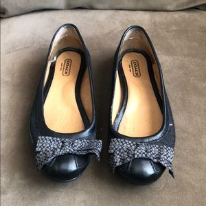 Black Coach Flats with Bow Detail